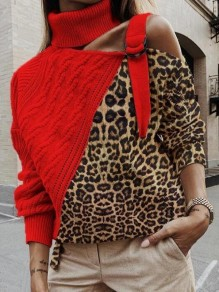 Red-Brown Patchwork Leopard Pattern Irregular Cut Out Belt High Neck Casual Pullover Sweater