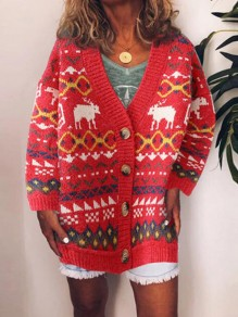 Red-White Geometric Pattern Single Breasted Ugly Christmas Party Cardigan Sweater