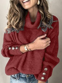 Burgundy Single Breasted High Neck Lantern Sleeve Cowl Neck Elegant Pullover Sweater