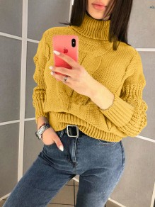 Yellow High Neck Long Sleeve Oversize Pullover Fashion Sweater