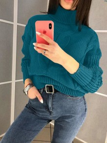 Green High Neck Long Sleeve Oversize Pullover Fashion Sweater