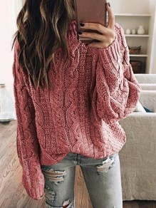 Pink Round Neck Long Sleeve Oversize Pullover Fashion Sweater
