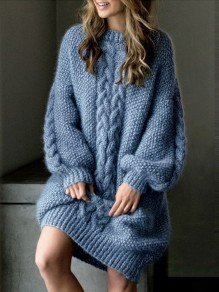 Grey Patchwork Print Oversize Round Neck Puff Sleeve Fashion Pullover Sweater