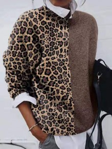 Khaki Leopard Print Round Neck Long Sleeve Fashion Pullover Sweater