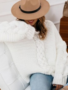 White V-neck Long Sleeve Loose Knit Twist Cute Pullover Sweater