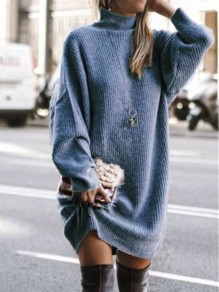 Blue Patchwork Irregular High Neck Long Sleeve Fashion Sweater Pullover