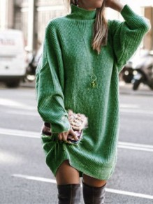 Green Patchwork Irregular High Neck Long Sleeve Fashion Sweater Pullover