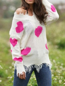Rose Carmine Love Heart Ripped Destroyed Off Shoulder Valentine's Day Oversized Casual Pullover Sweater