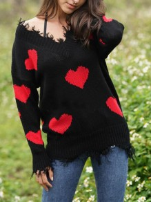 Pull love heart ripped destroy off épaule valentine's day oversized casual red-black