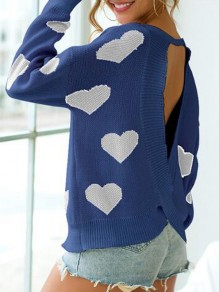Blue-White Love Heart Pattern Cut Out Backless One-Shoulder Valentine's Day Oversized Pullover Sweater