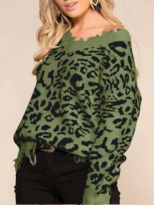 Army Green Leopard Pattern Off Shoulder Ripped Destroyed Casual Oversized Pullover Sweater