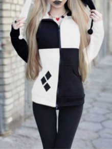 White Patchwork Zipper Print Cardigan Hooded Sweatshirt