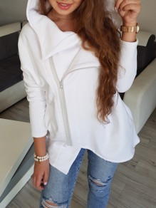 White Patchwork Zipper High Neck Fashion Cardigan Hooded Sweatshirt