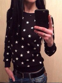 Black Starry Bodycon Going out Long Sleeve Round Neck Sweatshirt