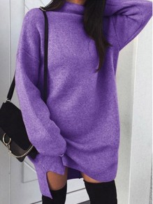 Purple Slit Band Collar Long Sleeve Going out Sweatshirt