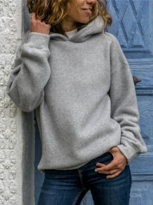Grey Oversize Hooded Long Sleeve Fashion Sweatshirt