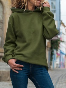 Army Green Oversize Hooded Long Sleeve Fashion Sweatshirt