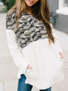 Rice White Patchwork Fluffy Camouflage Print Pockets Zipper V-neck Long Sleeve Cute Pullover Sweatshirt