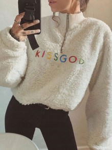 White Embroidery Zipper Band Collar Long Sleeve Teddy Pullover Sweatshirt