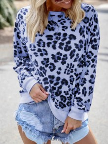 Blue Leopard Print Round Neck Long Sleeve Casual T-Shirt Sweatshirt
