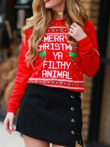 Red Floral Christmas Round Neck Long Sleeve Fashion Sweatshirt