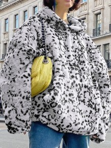 White Leopard Print Drawstring Pocket Long Sleeve Fashion Oversize Hooded Sweatshirt