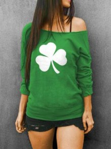 Green Clover Pattern One Shoulder Long Sleeve St patrick's Day Oversized Pullover Sweatshirt