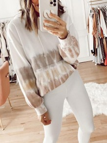 Camel Patchwork Pockets Tie Dye Tracksuit Casual Hooded Pullover Sweatshirt