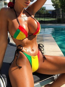 Green-Red Color Block Two Piece Jamaica Beachwear Fashion Bikini