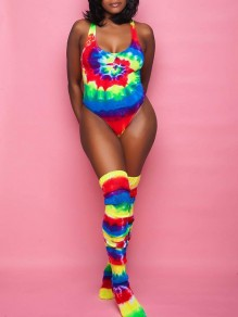 Blue Tie Dye Rainbow V-neck Sleeveless One-Piece With Socks Beach Swimwear Jumpsuit