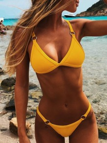 Traje de baño hebillas de dos piezas beachwear honey girl amarillo
