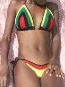 Red Crochet Jamaica Reggae Rasta Color Block Print Halter Neck Lace-up Beach Bikinis Swimwear