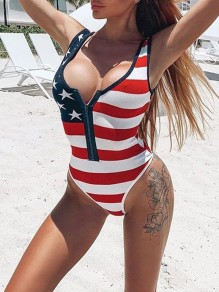 White-Red Striped Print Zipper 4th July American Flag Print Independence Day Beach One-Piece Swimwear