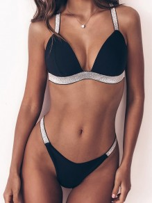 Black Patchwork 2-in-1 Sequin Cross Back Sparkly Fashion Bikini Swimwear