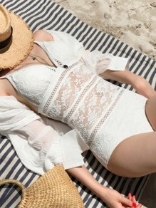 White Patchwork Lace Backless Deep V-neck Fashion One-Piece Swimwear
