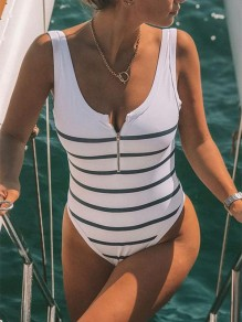 White Black Striped Pattern Zipper Beachwear Fashion One-Piece Swimwear