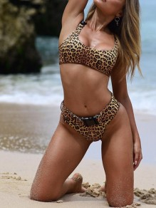 Brown Leopard Print Buckle Two Piece Fashion Tankini Swimwear