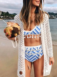 Blue Striped Cut Out Tassel High Waisted Sports Bikini