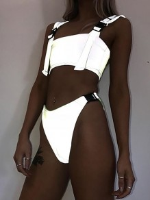 Silver Reflective Bikini Swimsuit Beach Buckles Tankinis Two Pieces Women Swimwear