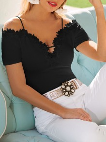 Black Patchwork Lace Spaghetti Straps Deep V-neck Going out T-Shirt