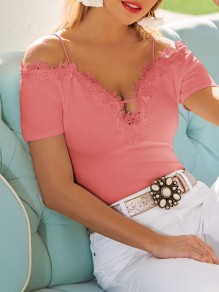 Pink Patchwork Lace Spaghetti Straps Deep V-neck Going out T-Shirt
