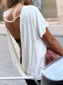 White Irregular Backless Round Neck Short Sleeve Fashion T-Shirt