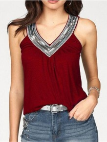 Wine Red Patchwork Sequin V-neck Sleeveless Fashion T-Shirt