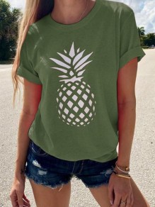 Green Pineapple Flowers Print Round Neck Short Sleeve Going out T-Shirt