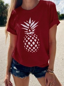 Red Pineapple Flowers Print Round Neck Short Sleeve Going out T-Shirt
