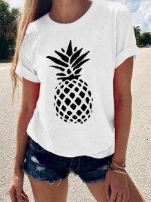 White Pineapple Flowers Print Round Neck Short Sleeve Going out T-Shirt