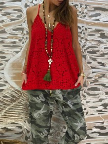 Red Patchwork Lace Condole Belt V-neck Going out T-Shirt