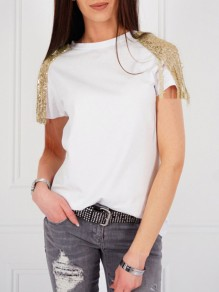 White Patchwork Sequin Tassel Short Sleeve Fashion T-Shirt