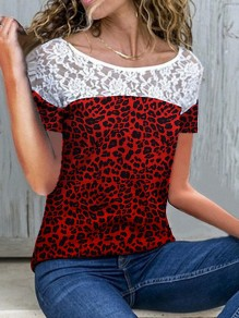 Wine Red Leopard Print Lace Round Neck Short Sleeve T-Shirt