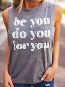 Black Letter Vest Yoga Sport Freizeitmode Cool Girls Loose T-Shirt